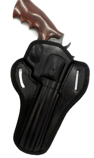 Right Hand Black Leather OWB Open Top Belt Holster for TAURUS 44SS 44 MAG 6.5