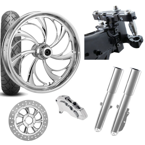 RC 26 Helix Chrome Wheel Tire Neck Rake Front End Package Harley Single Side