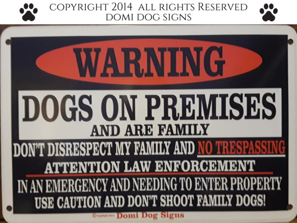 Metal Warning Dogs Sign For FENCE Beware Of Dog 8quot;x12quot; dogs are family $9.00