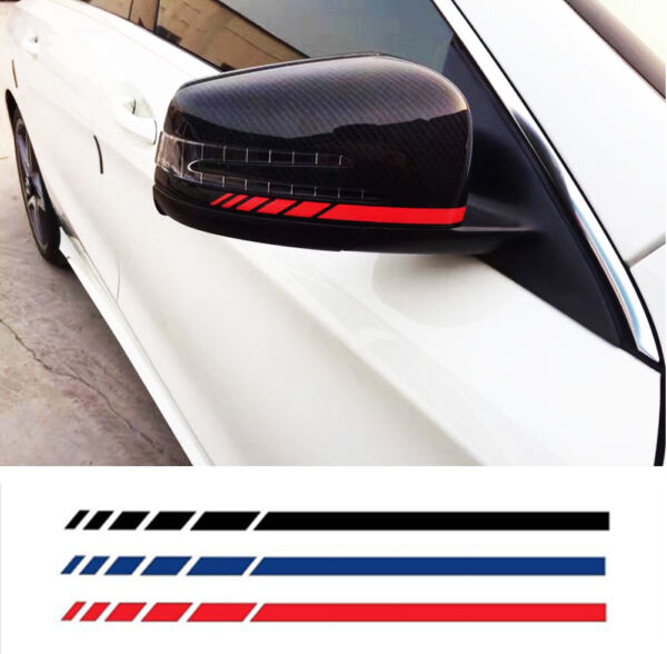 2x Rearview Mirror Racing Stickers Stripes Decal Vinyl for Car Motorcycle Bike