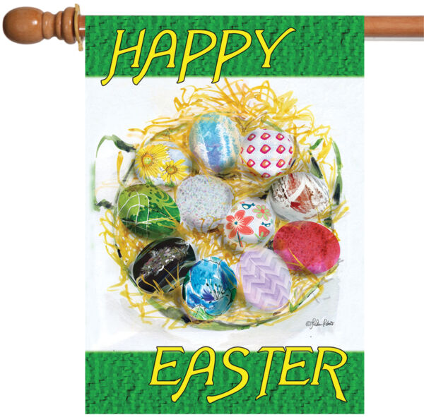 Toland Happy Easter Nest 28 x 40 Colorful Egg Spring House Flag