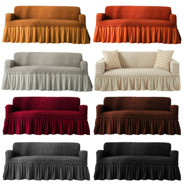 1 2 3 4 Seat Cotton Linen Slipcover Sofa Couch Cover Protector Machine Washable