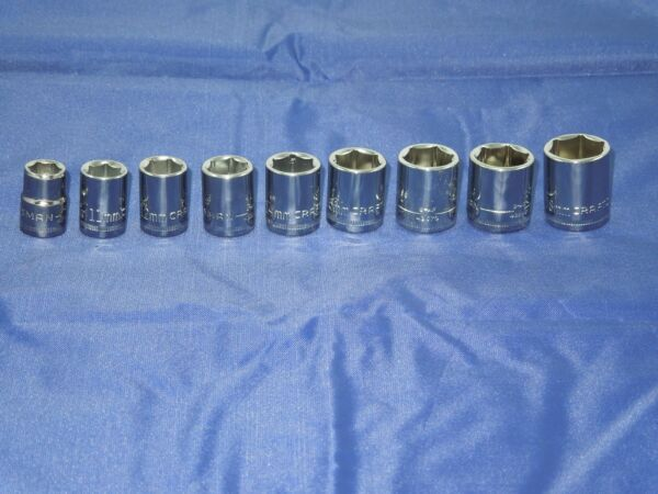 CRAFTSMAN 9 piece 6 point 3 8quot; in. METRIC SOCKET SET 10 18 MM BRAND NEW CHROME