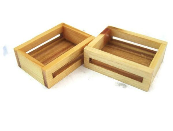 Set of 2 Dollhouse Miniatures Wooden Crate Display Vegetable Fruit
