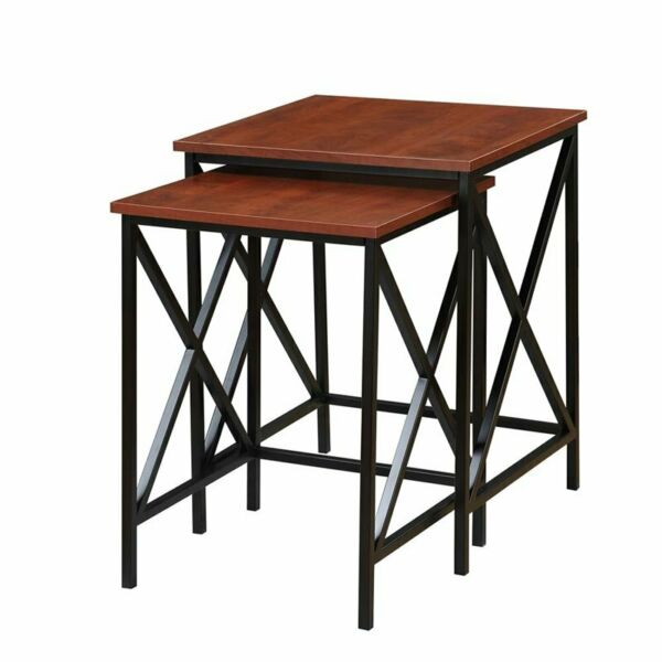 Pemberly Row 2 Piece Nesting End Table Set in Cherry