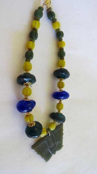 ANCIENT MULTI-COLOR  VARIETY SIZES  CARNELIAN  JADE THAILAND  NECKLACE PENDENT