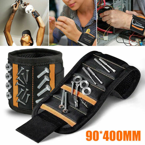 Magnetic Wristband with 15 Strong Magnet for Hold Small Tools Screws Nails