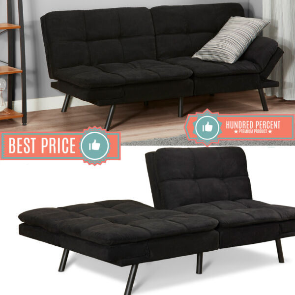 Memory Foam Futon Sleeper Sofa Bed Couch Convertible Foldable Black FULL SIZE $195.98