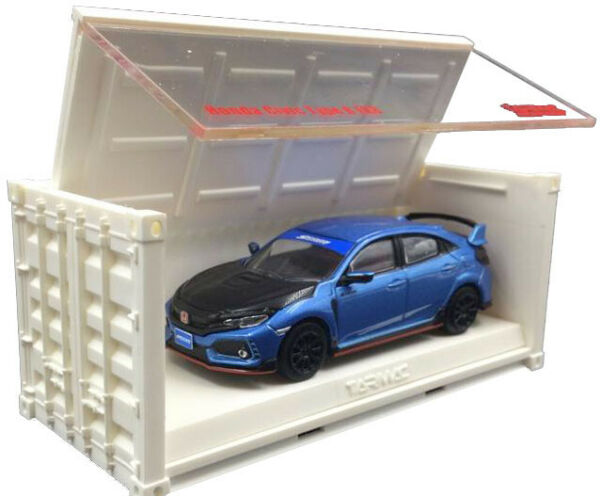 1:64 Tarmac Works 18 Honda Civic Type R FK8 HOT BLUE CONTAINER CTR Diecast model