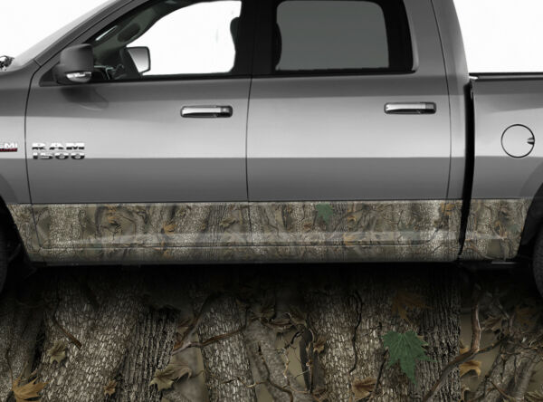 Rocker Panel Graphic Decal Wrap - Truck Realistic FOREST Camo Vinyl Camouflage