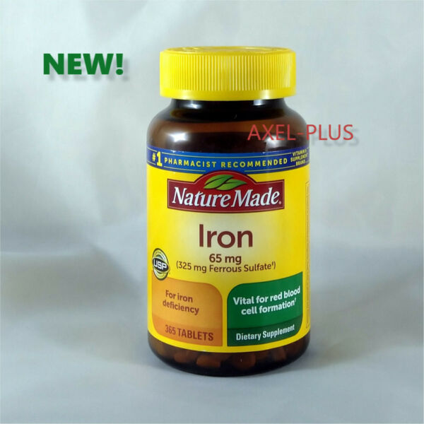Nature Made Iron 65 mg - 365 Tablets Dietary Supplement  EXP 082021 NEW !