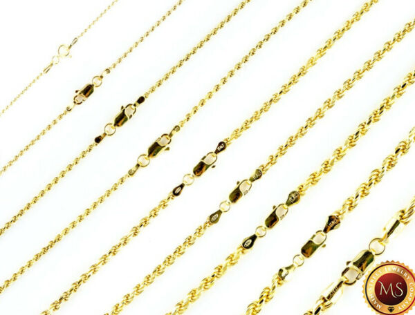 14k Gold over 925 SOLID Sterling Silver Diamond Cut ROPE Chain Necklace $76.36