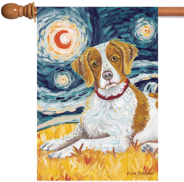 Toland Van Growl Brittany 28 x 40 Starry Night Puppy Dog Portrait House Flag
