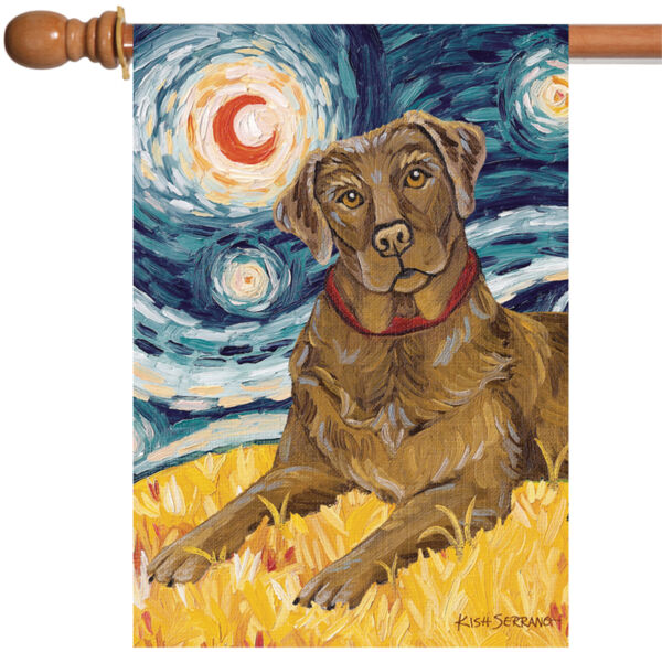 Toland Van Growl Chocolate Lab 28 x 40 Starry Night Puppy Dog House Flag