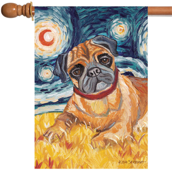 Toland Van Growl Fawn Pug 28 x 40 Starry Night Puppy Dog Portrait House Flag