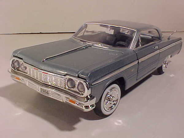 1964 Chevy Impala Coupe Die cast Car 1:24 by Motormax 8 inch Blue Gray