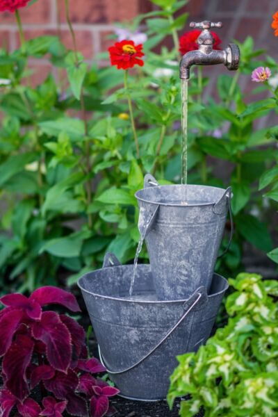 Hi-Line Gift Ltd. Metal Pails in Large Pail Fountain with LED Light