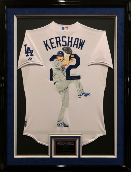Clayton Kershaw SignedFramed Hand Painted Dodgers Cool Base Baseball Jersey PSA