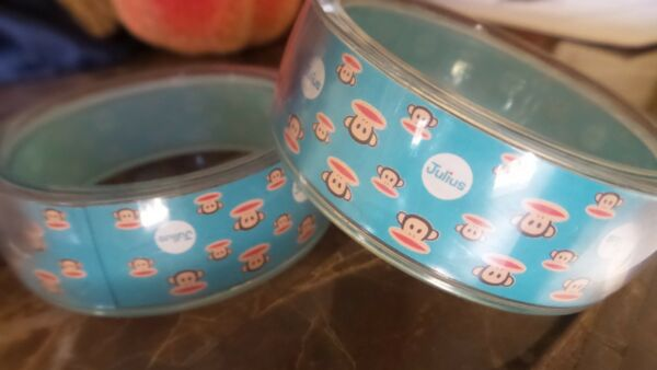 Vintage 2 JULIUS monkey PAUL FRANK Wide PLASTIC Bangle BRACELET Aqua BLUE ~78