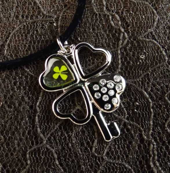Real four leaf clover shamrock with rhinestone necklace cord 19