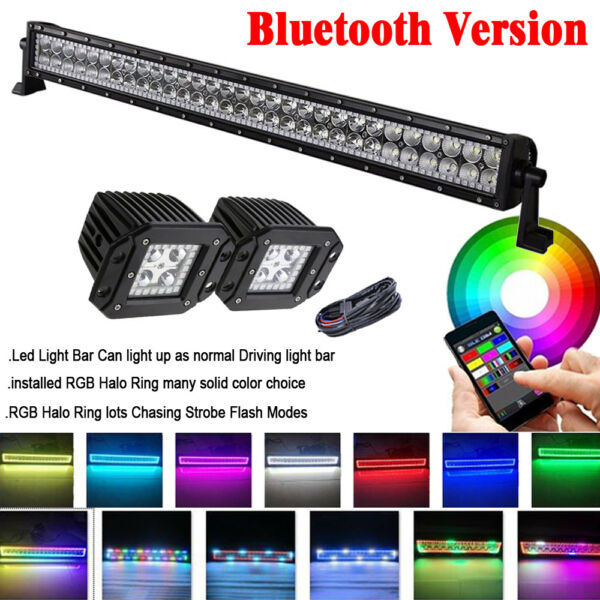 32inch Led Light Bar + 2x Flush Mount Pods RGB Halo Chasing + Bluetooth Wiring