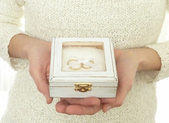Personalized Wooden Wedding Ring Box Rustic White Pillow Holder Burlap Rolls.
