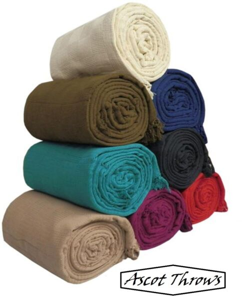 100% Cotton Sofa Throws Bed Throws in 8 Colors amp; 5 Sizes Clearance Ascot