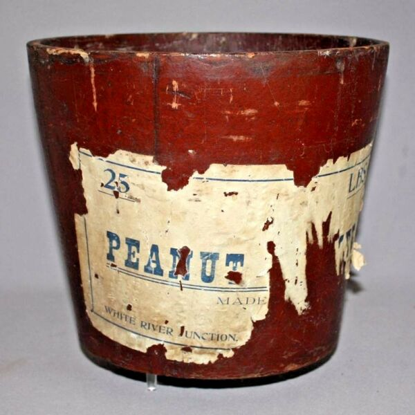 Primitive Antique 25# PEANUT BUTTER PAIL United Indurated Fibre 1886 RED PAINT