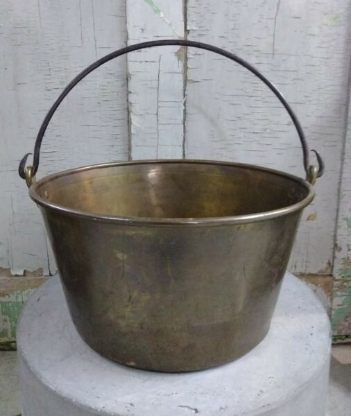 Antique Brass Open Hearth Cooking Kettle Hand Forged Vintage Collectible Prim