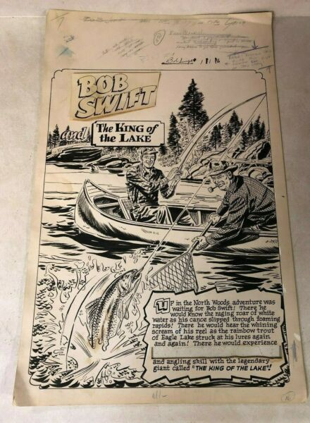 Bob Swift #1 original art 1951 FISHING king of the lake trout TITLE SPLASH PAGE