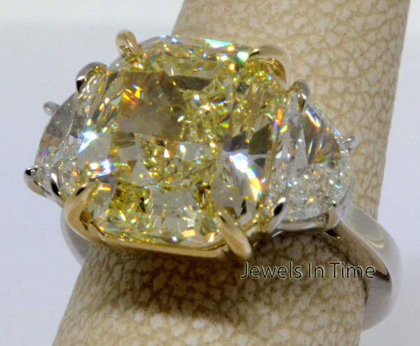 9.03 Carat Fancy Yellow Diamond Ring Platinum & 18k Gold GIA Certificate  Size 6
