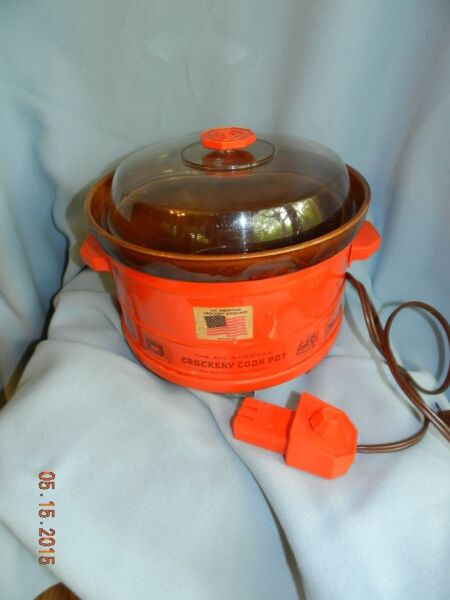 Vintage The All American Crockery Cook Pot Crock slow cooker Orange EUC