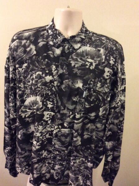 CAFE HAWAIIAN MEN CASUAL BUTTON DOWN SHIRT SIZE (1) BLKGRAYWHT MADE IN THE USA