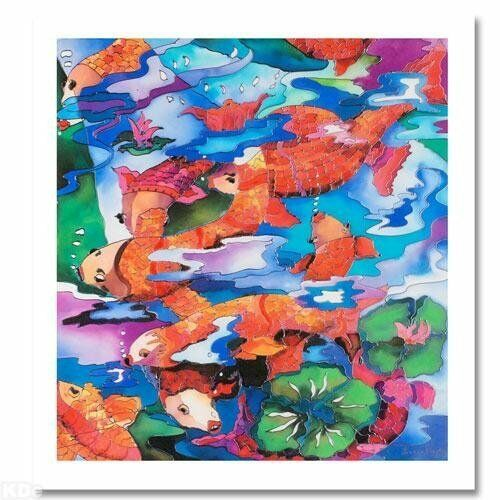 quot;Frolicking Koi Fishquot; by Linnea Pergola Signed Canvas