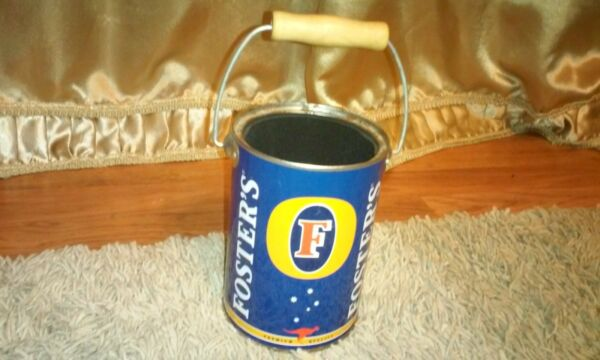 Fosters beer rare metal tin Pail insulated inside old with wood handle Premium