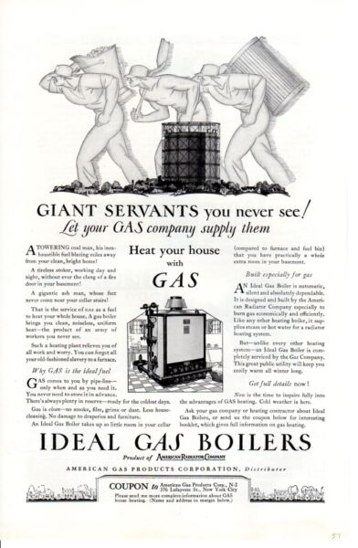 Vintage ad Print 1927 Ideal Gas Boilers heat your house with Gas nice old art ad $12.95