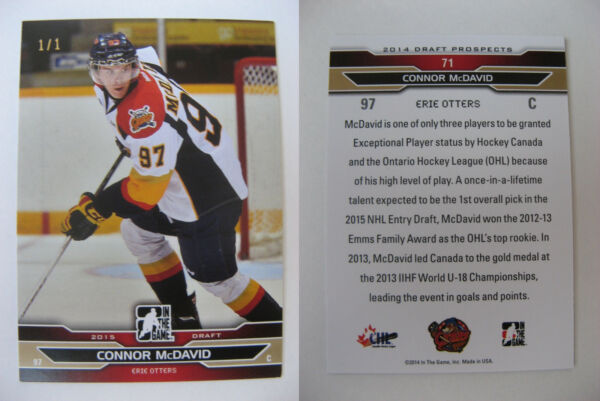 2014-15 ITG Draft Prospects #71 Connor McDavid 11 RC gold Rookie HOLY GRAIL