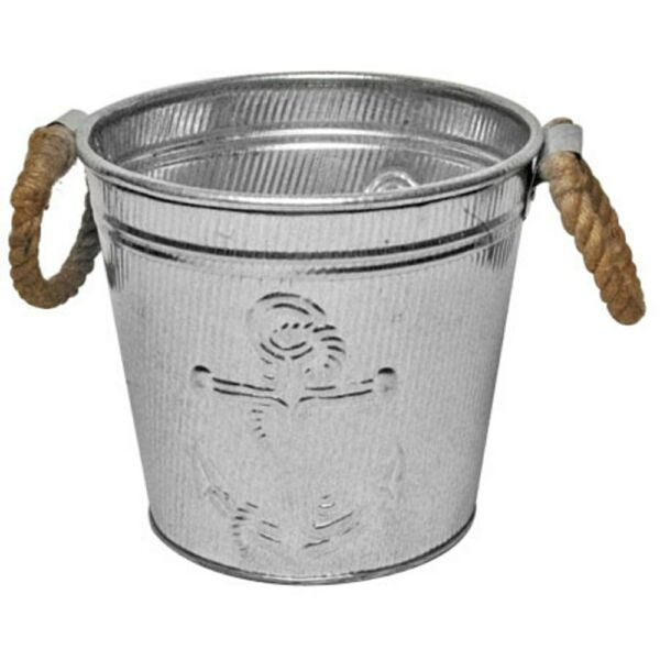 Galvanized Metal Ice Bucket for Drinks or Planter Pail with Rope Handles