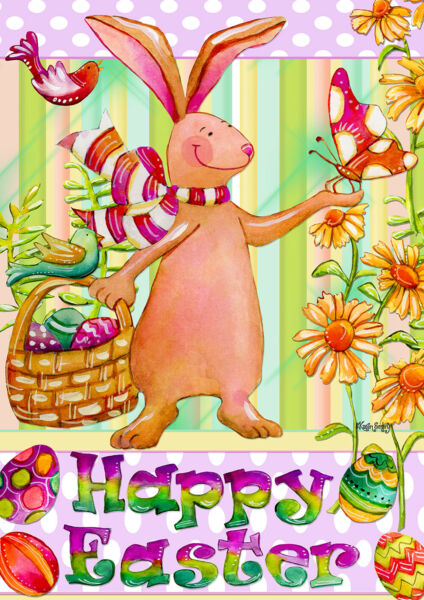 Toland Patel Easter Bunny 28 x 40 Easter Bunny Egg Flowers Spring  House Flag