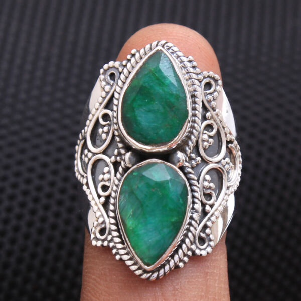 Faceted Sakota Mine Emerald 925 Sterling Silver Bali style Ring Size us 8.5