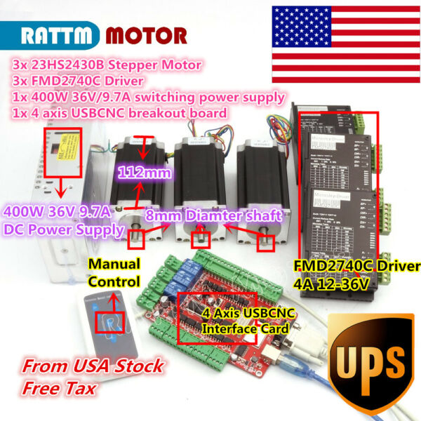 【US Ship】 3Axis USBCNC NEMA23 Stepper Motor 425oz-in Dual Shaft