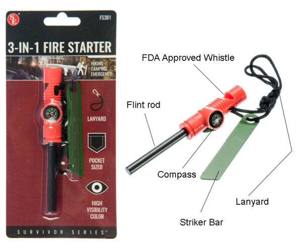 3 IN 1 Flint Fire Starter Emergency Fire Starter Compass amp; Whistle Survival