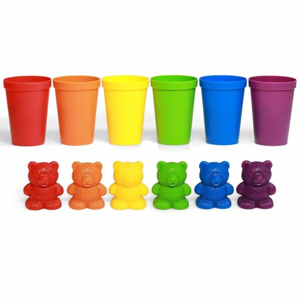 72 Rainbow Colored Counting Bears with Cup for Children Learning Education Toys