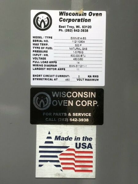 New Wisconsin 8' x 8' x 12' Powder CoatingCuring Oven -