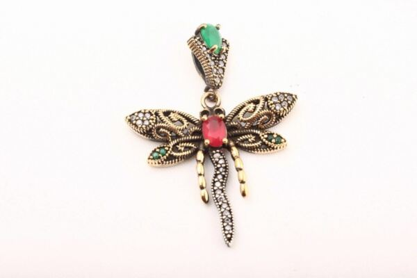 Flirty Pure Dragonfly! Turkish Jewelry Ruby Emerald 925 Sterling Silver Pendant
