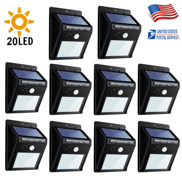 Outdoor 20 LED Solar Power Wall Lights PIR Motion Sensor Garden Security Lamp