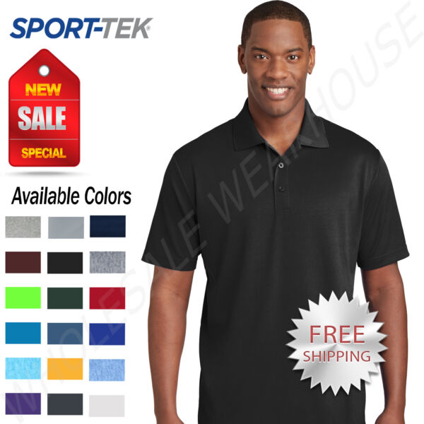 NEW Sport Tek Mens Cool Dry Fit Wicking Performance Golf Polo T Shirt ST640