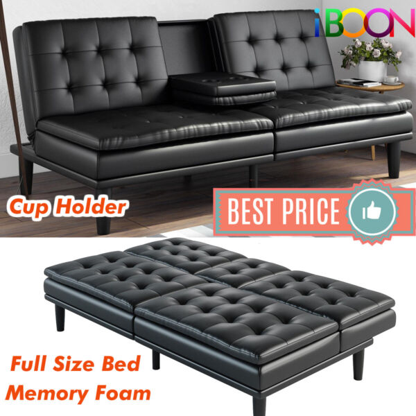 Memory Foam Sofa Bed Couch Convertible Futon Leather Cup Holder Pillow Top Black $249.98