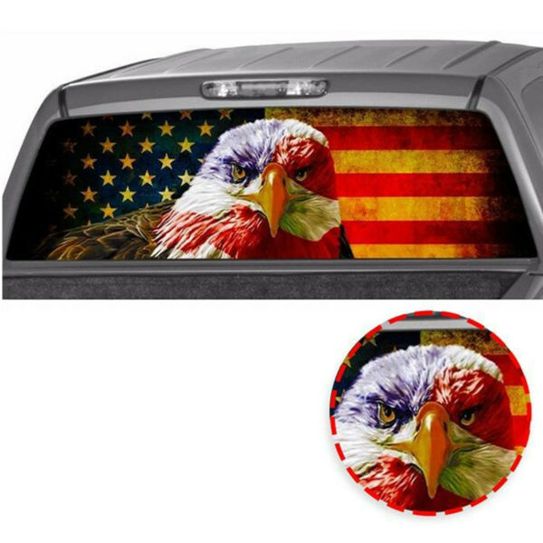 Waterproof American Flag Eagle Rear Window Tint Graphic Decal Truck Tailgate SUV $16.70