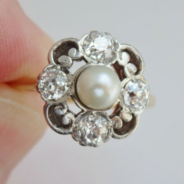 Stunning Antique Art Nouveau 18ct Gold Pearl & Diamond (0.90ct) Ring c1910